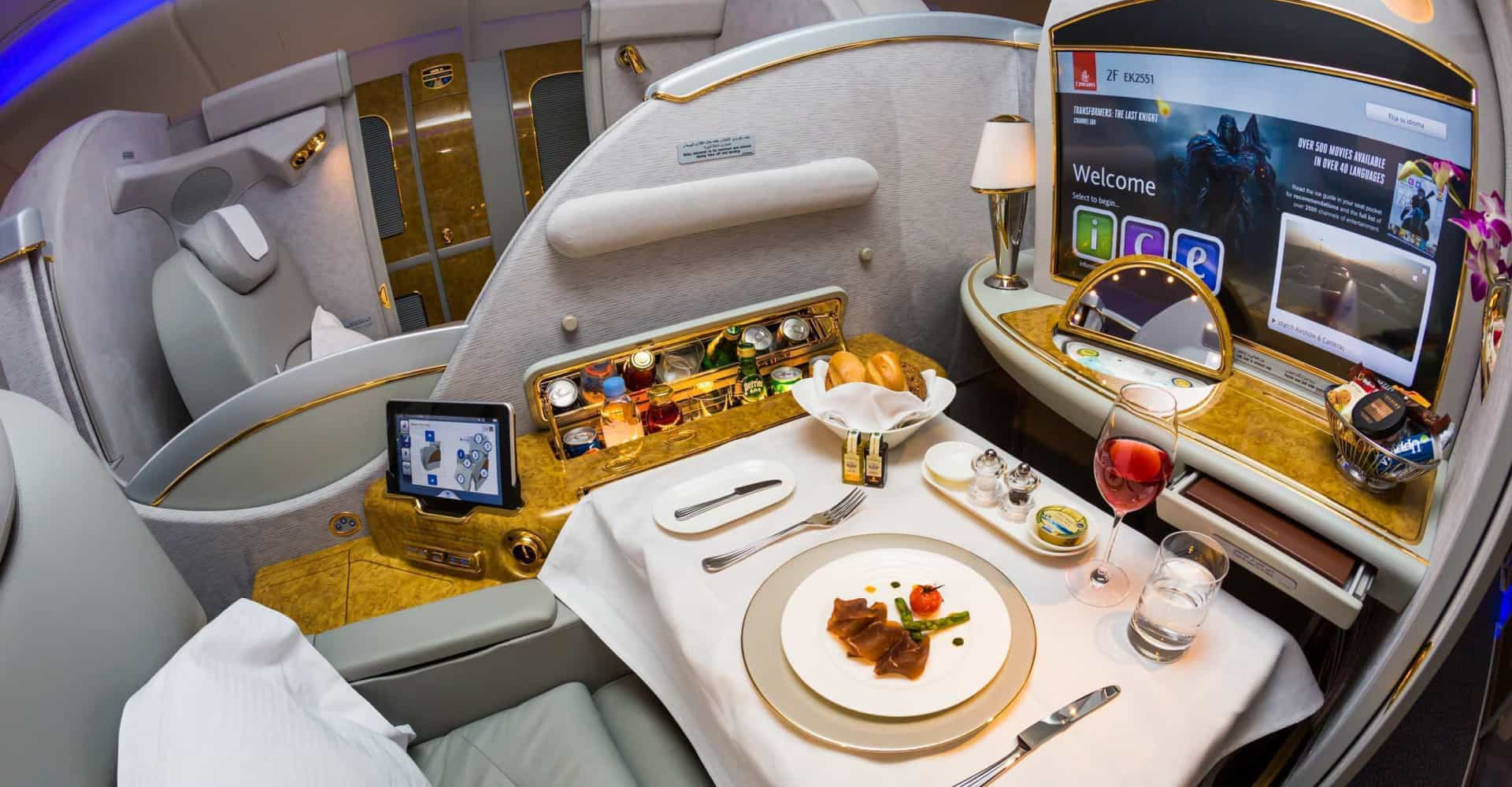 Indulging in the first-class flying experience