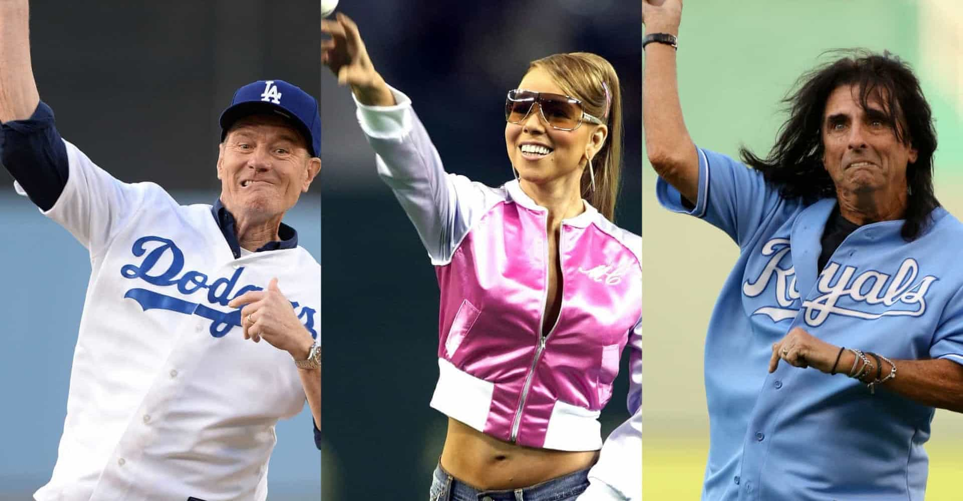 Memorable celebrity first baseball pitches