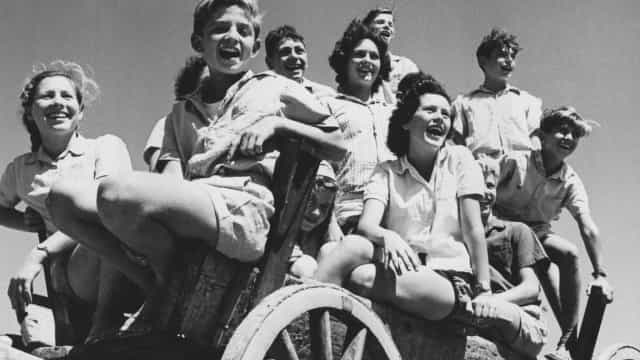 Vintage photographs of life on a kibbutz
