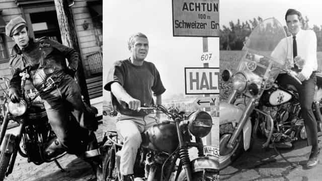 Vintage photos of celebrities on motorcycles