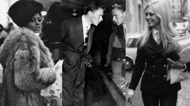 Vintage foto's van beroemdheden die aan het winkelen zijn