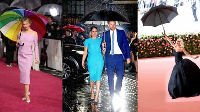 Celebs sheltering in style with umbrellas