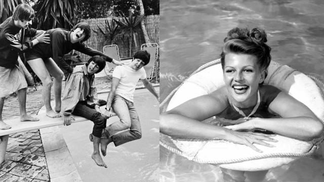 Vintage foto's van beroemdheden bij het zwembad