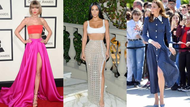 Leggy celebrities working the slit skirt