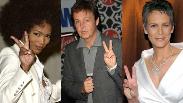 Celebrities flashing the peace sign