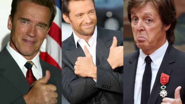 Celebrities caught with their thumbs up
